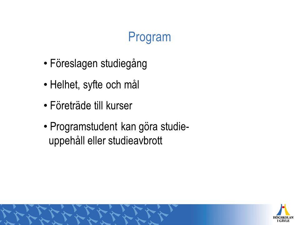 Program Föreslagen studiegång Helhet, syfte och mål