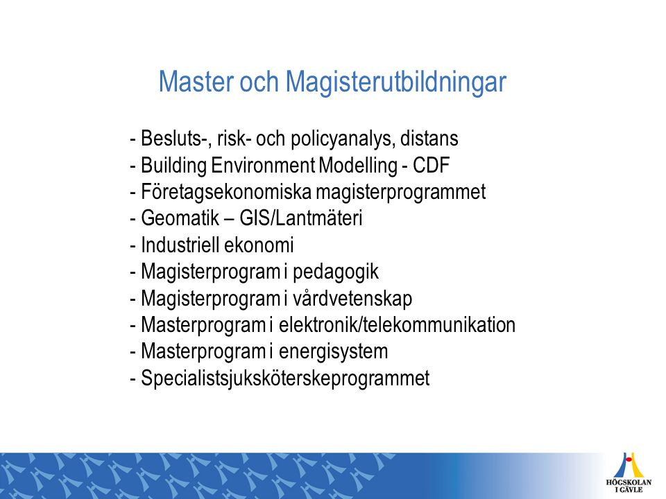 Master och Magisterutbildningar