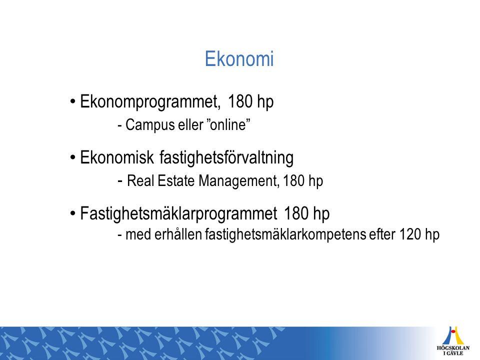 Ekonomi Ekonomprogrammet, 180 hp - Campus eller online