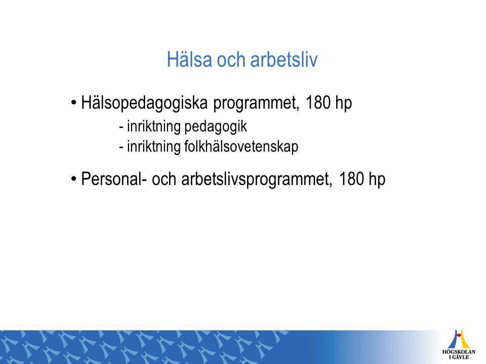 Hälsa och arbetsliv Hälsopedagogiska programmet, 180 hp - inriktning pedagogik - inriktning folkhälsovetenskap.
