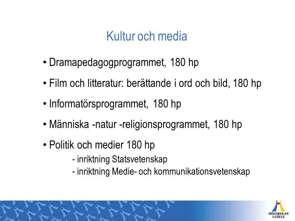 Kultur och media Dramapedagogprogrammet, 180 hp