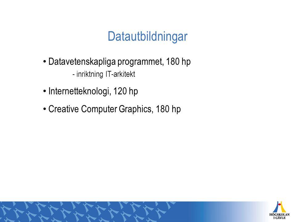 Datautbildningar Datavetenskapliga programmet, 180 hp - inriktning IT-arkitekt. Internetteknologi, 120 hp.