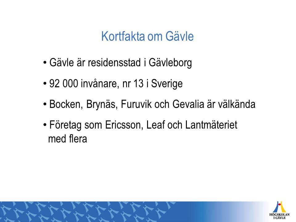 Kortfakta om Gävle Gävle är residensstad i Gävleborg