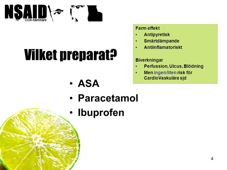 Vilket preparat ASA Paracetamol Ibuprofen Farm effekt Antipyretisk