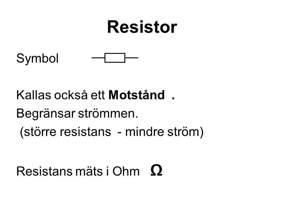 Resistor Symbol Kallas också ett Motstånd . Begränsar strömmen.