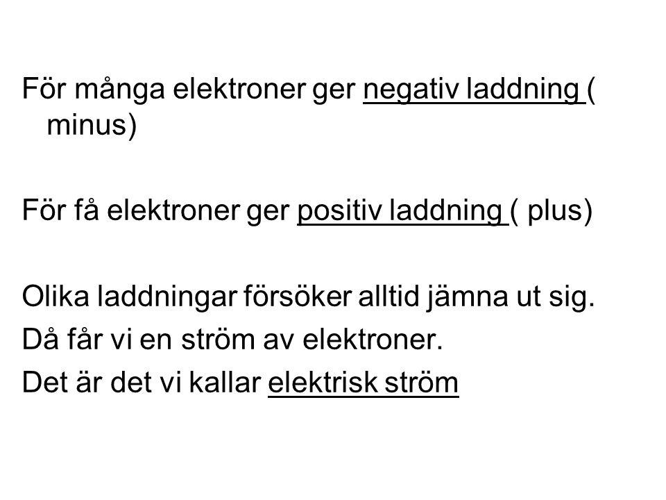 För många elektroner ger negativ laddning ( minus)