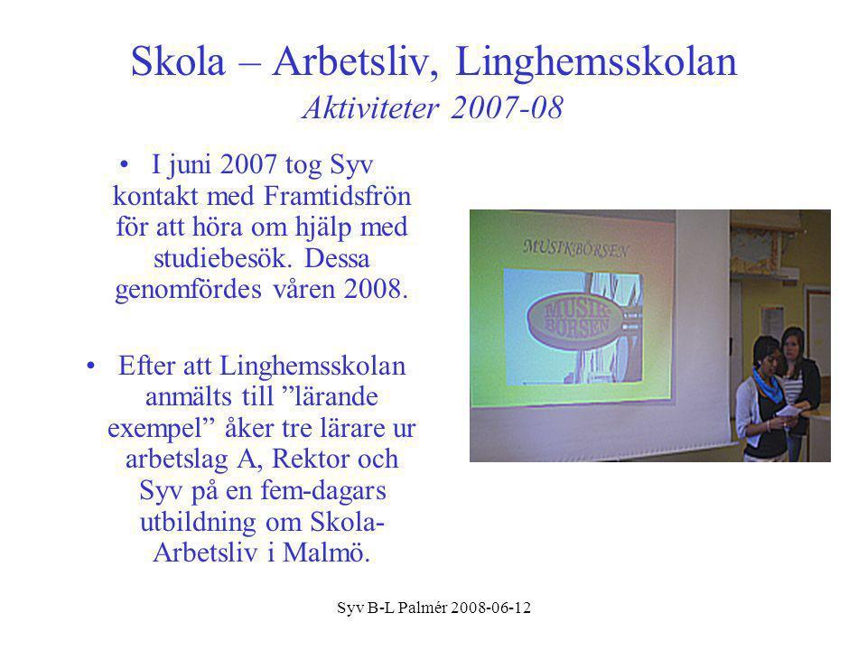 Skola – Arbetsliv, Linghemsskolan Aktiviteter 2007-08