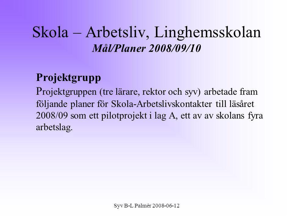 Skola – Arbetsliv, Linghemsskolan Mål/Planer 2008/09/10