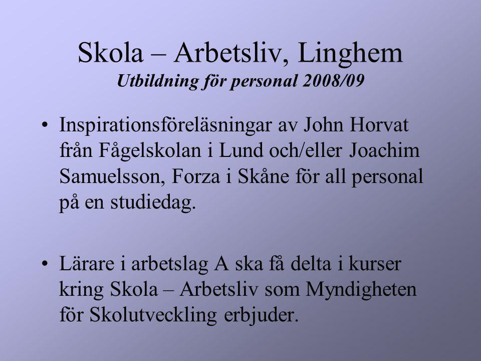 Skola – Arbetsliv, Linghem Utbildning för personal 2008/09