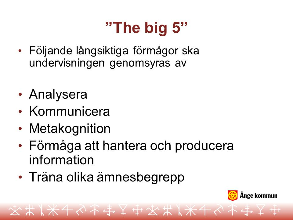 The big 5 Analysera Kommunicera Metakognition