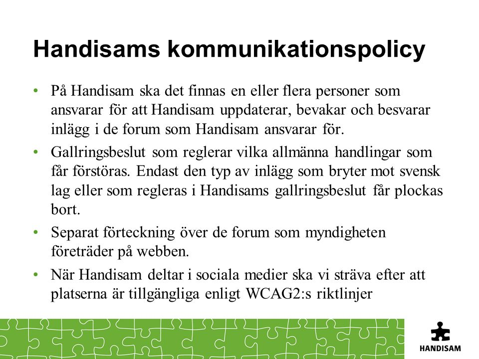 Handisams kommunikationspolicy