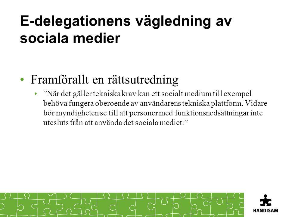 E-delegationens vägledning av sociala medier