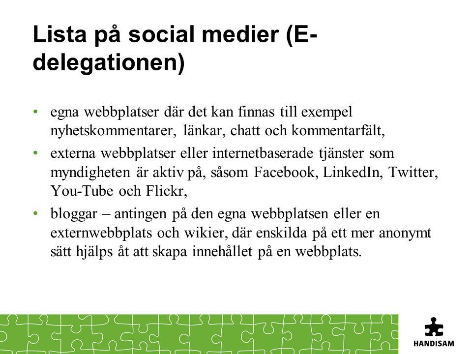 Lista på social medier (E-delegationen)