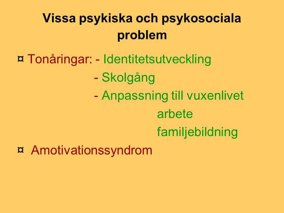 Vissa psykiska och psykosociala problem