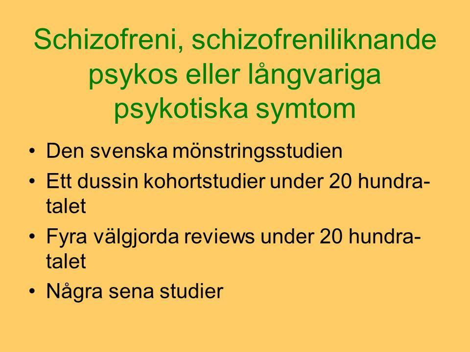Schizofreni, schizofreniliknande psykos eller långvariga psykotiska symtom