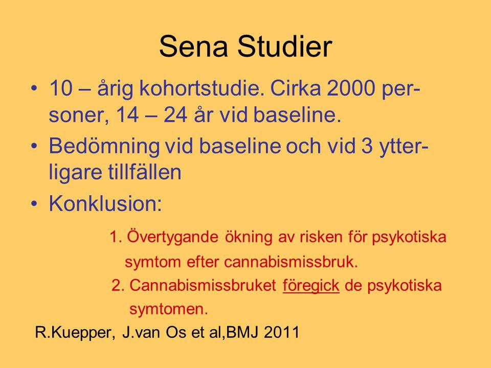 Sena Studier 10 – årig kohortstudie. Cirka 2000 per-soner, 14 – 24 år vid baseline. Bedömning vid baseline och vid 3 ytter-ligare tillfällen.
