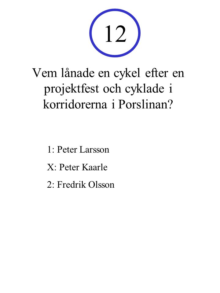 12 Vem lånade en cykel efter en projektfest och cyklade i korridorerna i Porslinan 1: Peter Larsson.