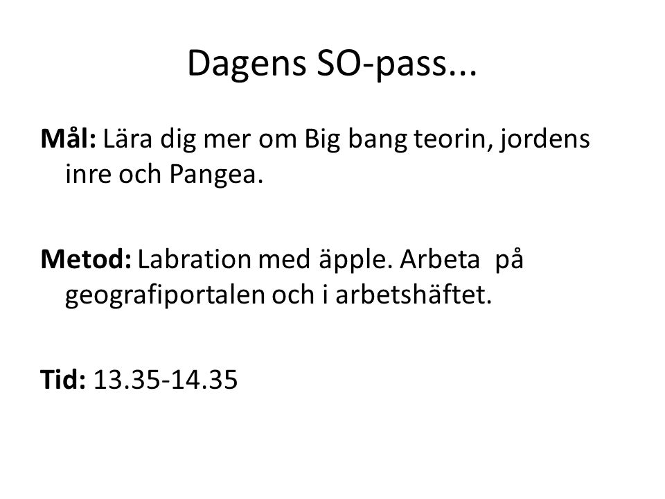 Dagens SO-pass...