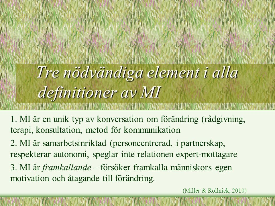 Tre nödvändiga element i alla definitioner av MI