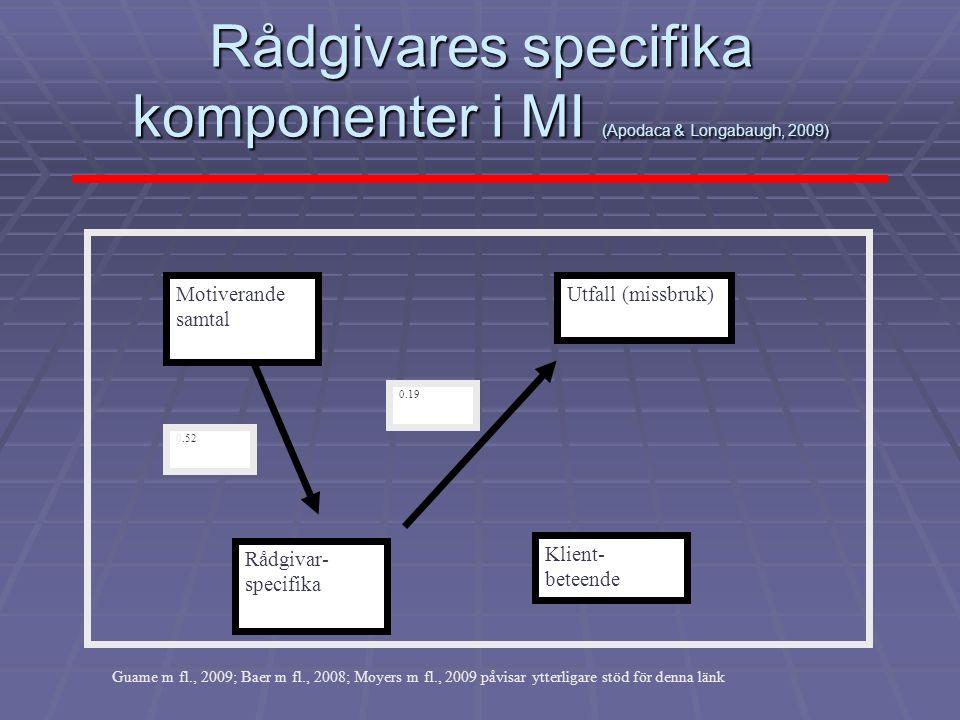 Rådgivares specifika komponenter i MI (Apodaca & Longabaugh, 2009)