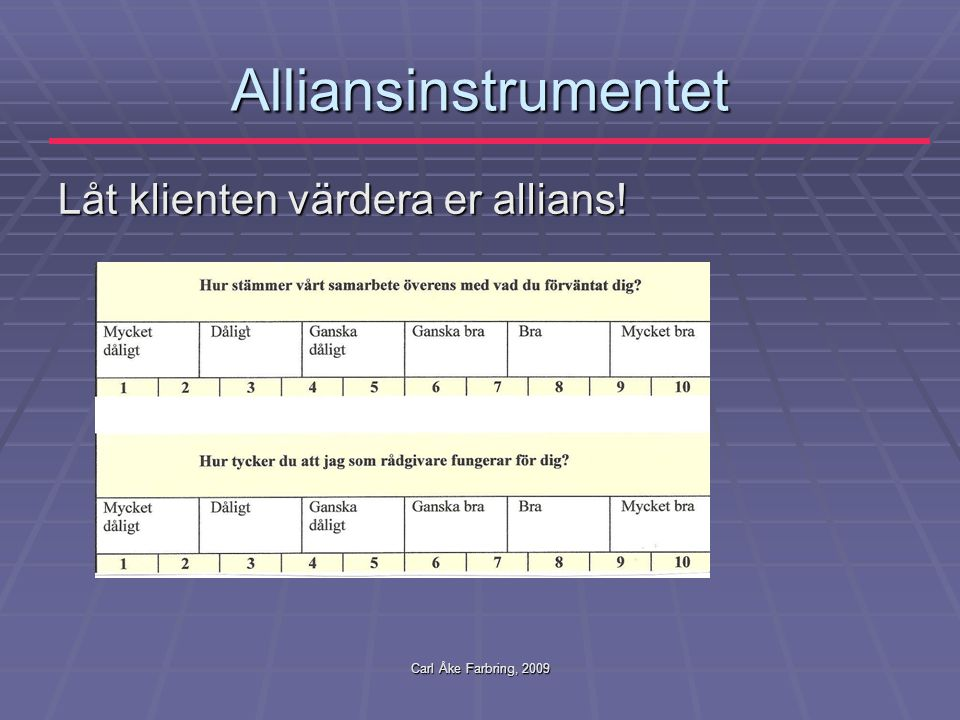 Alliansinstrumentet Låt klienten värdera er allians!