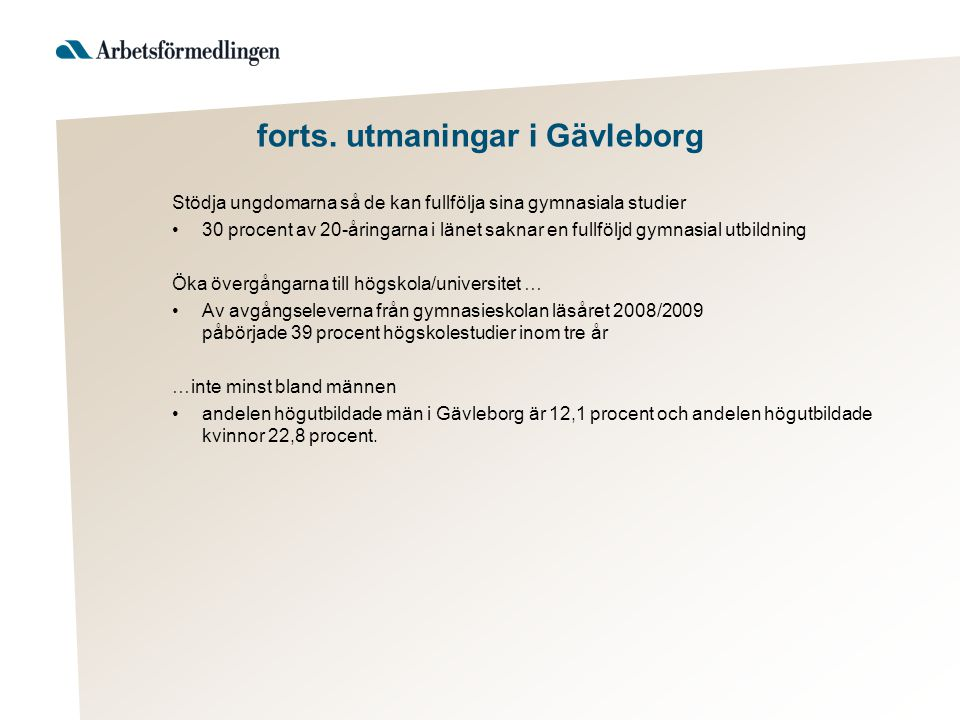 forts. utmaningar i Gävleborg