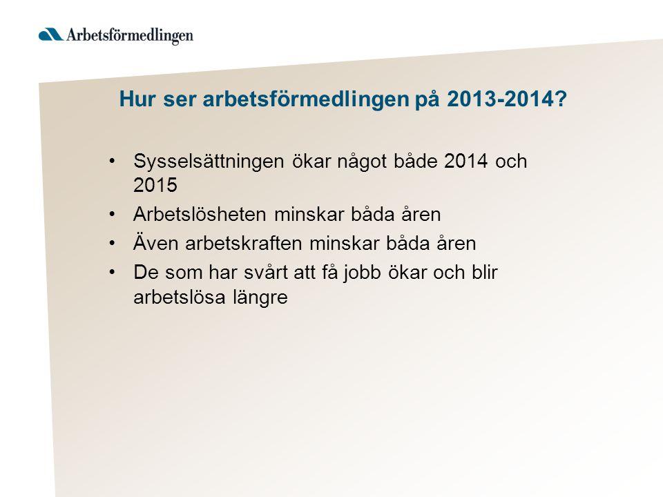 Hur ser arbetsförmedlingen på 2013-2014