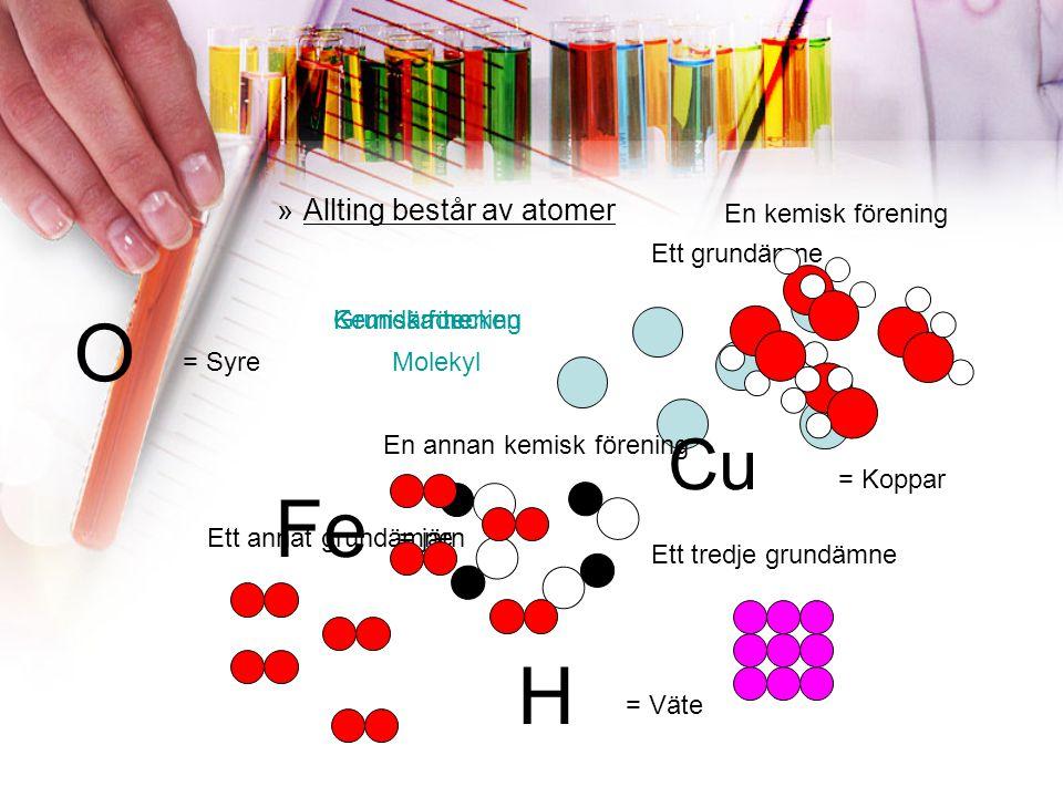 O Fe H Cu Allting består av atomer En kemisk förening Ett grundämne
