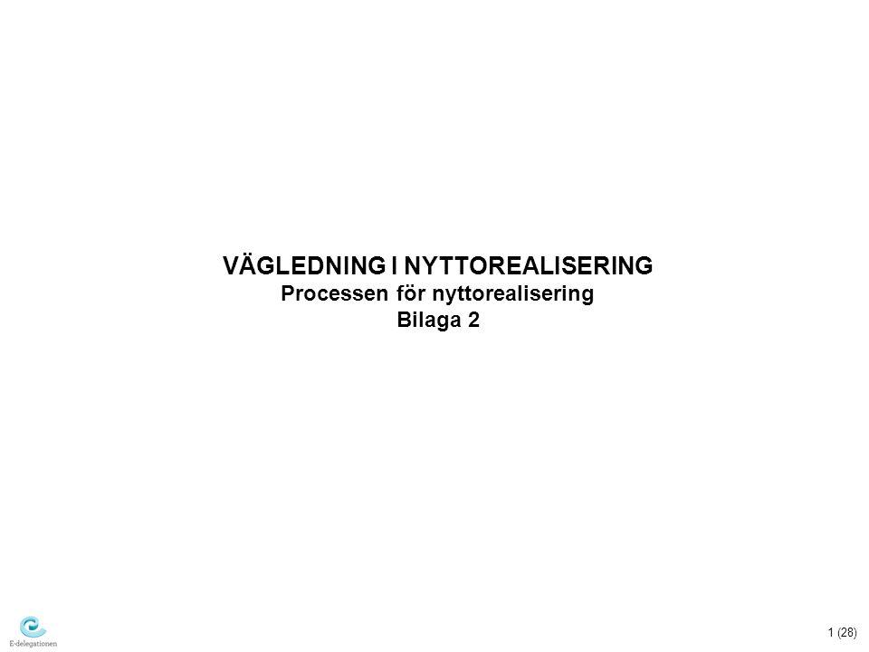 VÄGLEDNING I NYTTOREALISERING Processen för nyttorealisering Bilaga 2