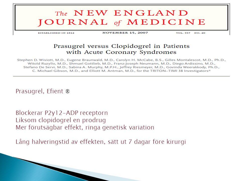 Prasugrel, Efient ® Blockerar P2y12-ADP receptorn. Liksom clopidogrel en prodrug. Mer förutsägbar effekt, ringa genetisk variation.