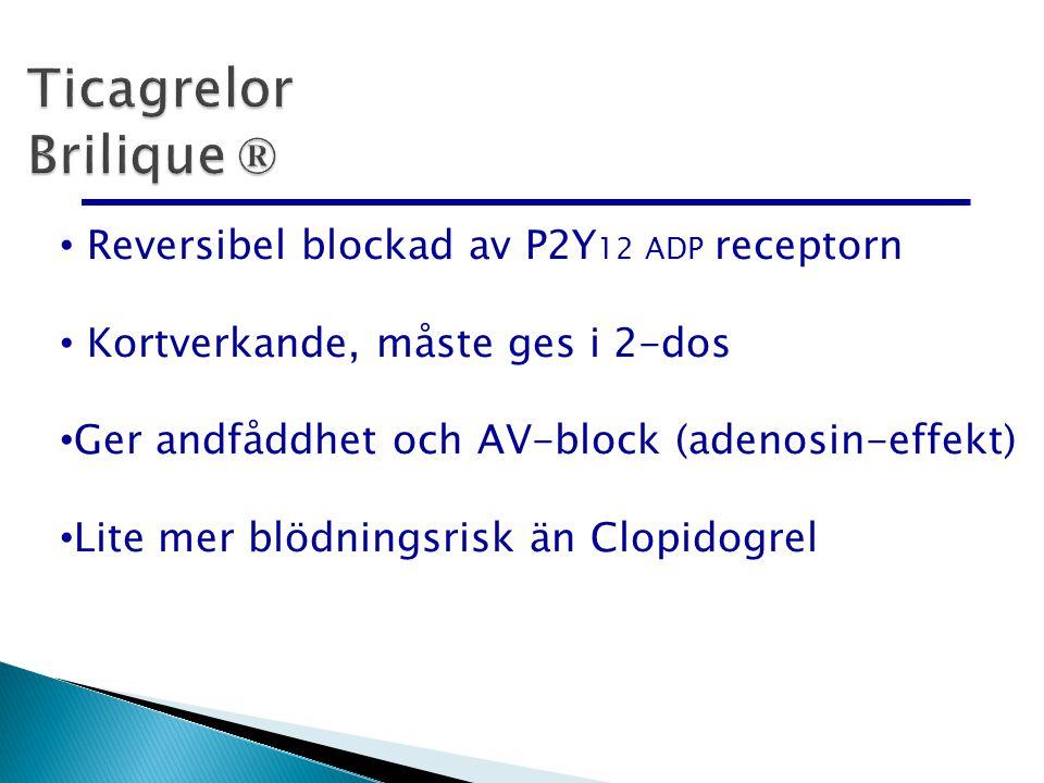 Ticagrelor Brilique ® Reversibel blockad av P2Y12 ADP receptorn