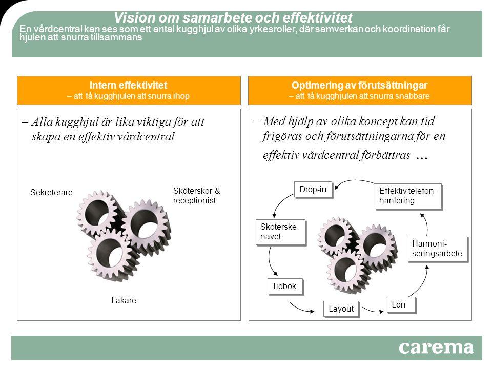 Vision om samarbete och effektivitet En vårdcentral kan ses som ett antal kugghjul av olika yrkesroller, där samverkan och koordination får hjulen att snurra tillsammans