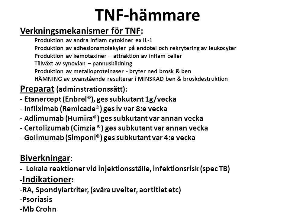 TNF-hämmare Verkningsmekanismer för TNF: