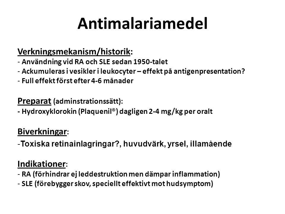 Antimalariamedel Verkningsmekanism/historik: