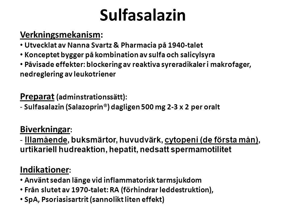 Sulfasalazin Verkningsmekanism: Preparat (adminstrationssätt):