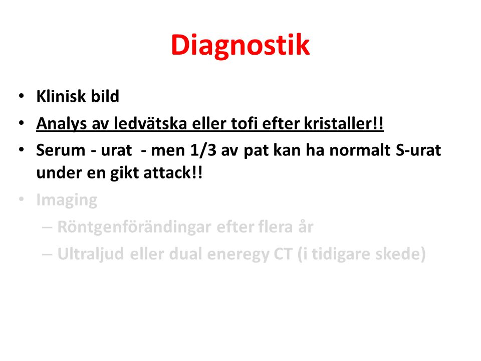 Diagnostik Klinisk bild