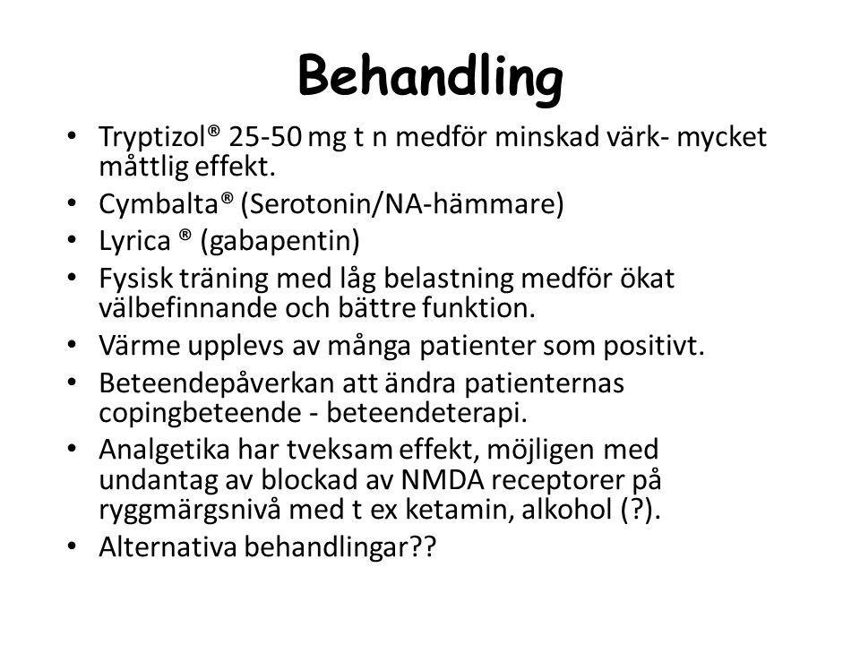 Behandling Tryptizol® 25-50 mg t n medför minskad värk- mycket måttlig effekt. Cymbalta® (Serotonin/NA-hämmare)