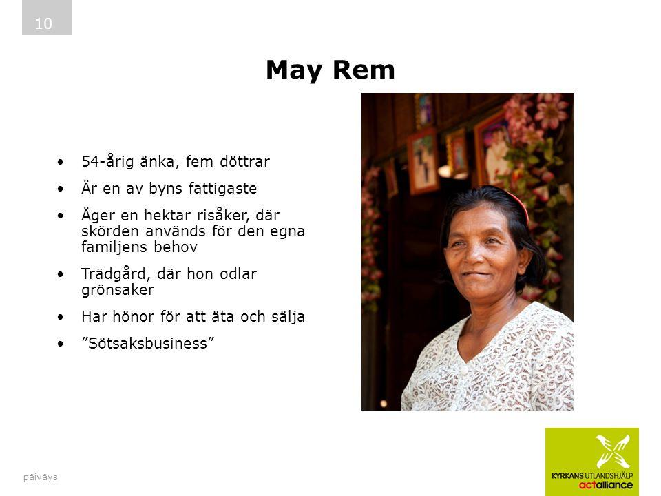 May Rem 54-årig änka, fem döttrar Är en av byns fattigaste