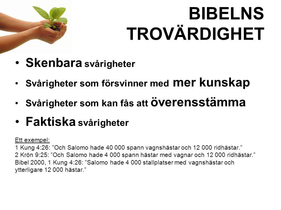 BIBELNS TROVÄRDIGHET Skenbara svårigheter Faktiska svårigheter