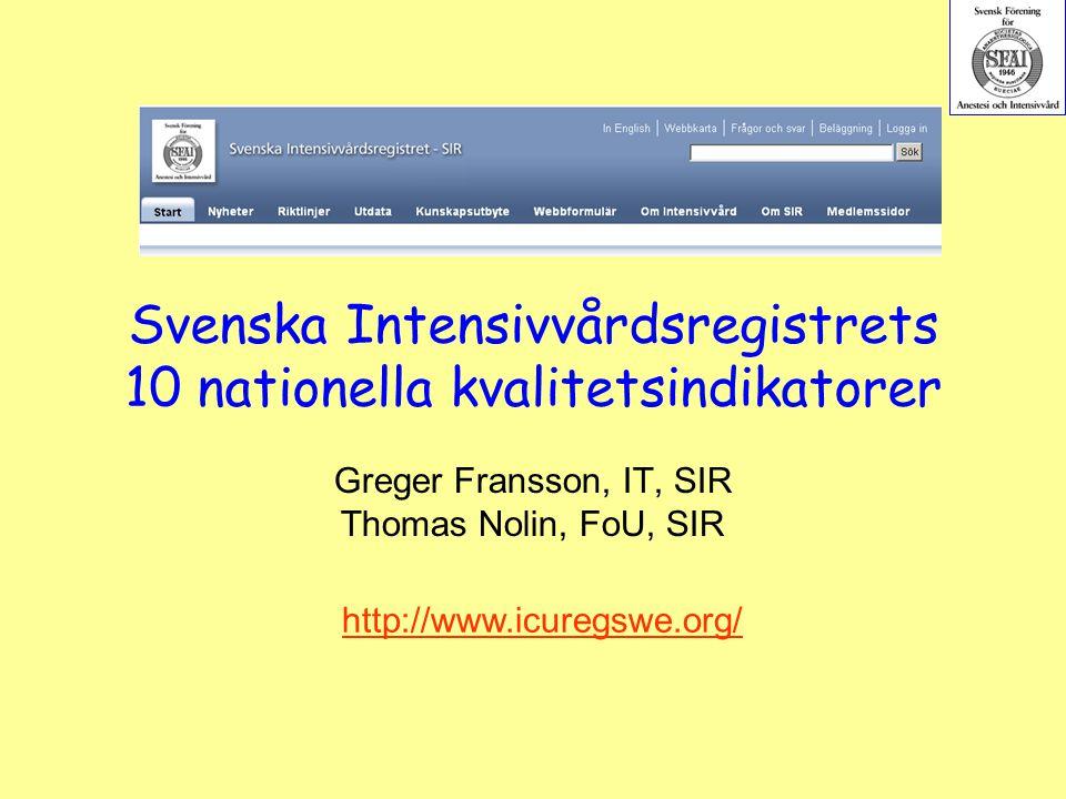 Svenska Intensivvårdsregistrets 10 nationella kvalitetsindikatorer
