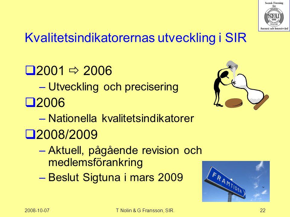 Kvalitetsindikatorernas utveckling i SIR