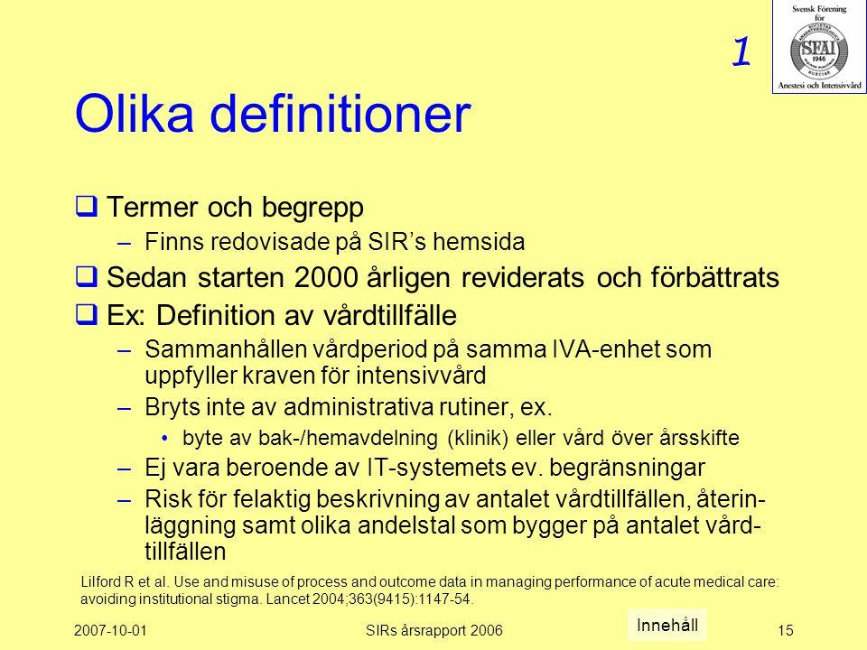 Olika definitioner 1 Termer och begrepp