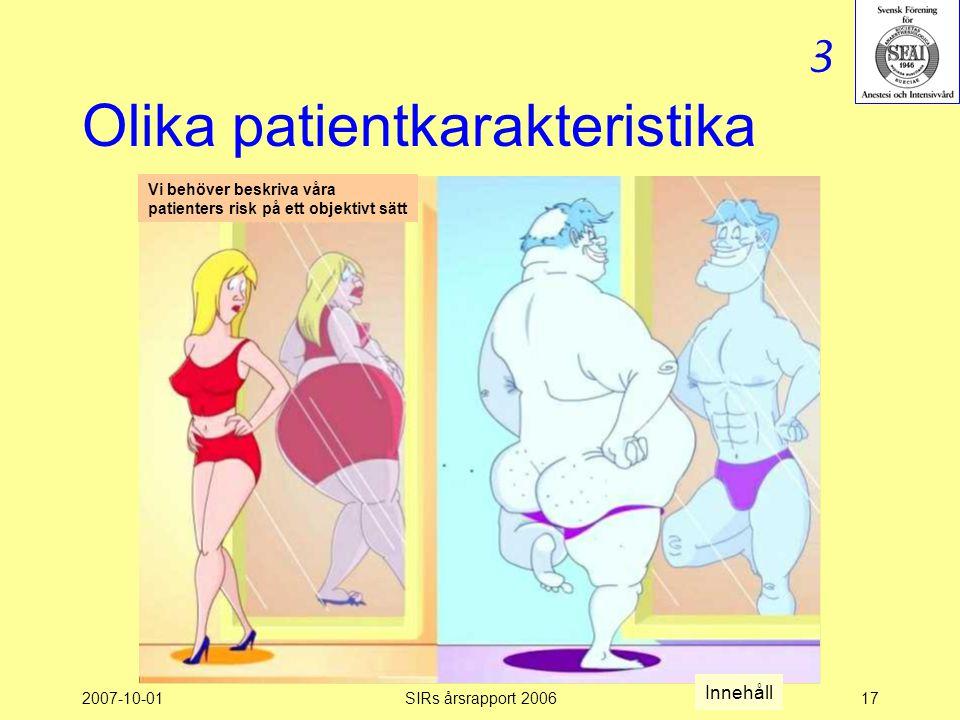 Olika patientkarakteristika