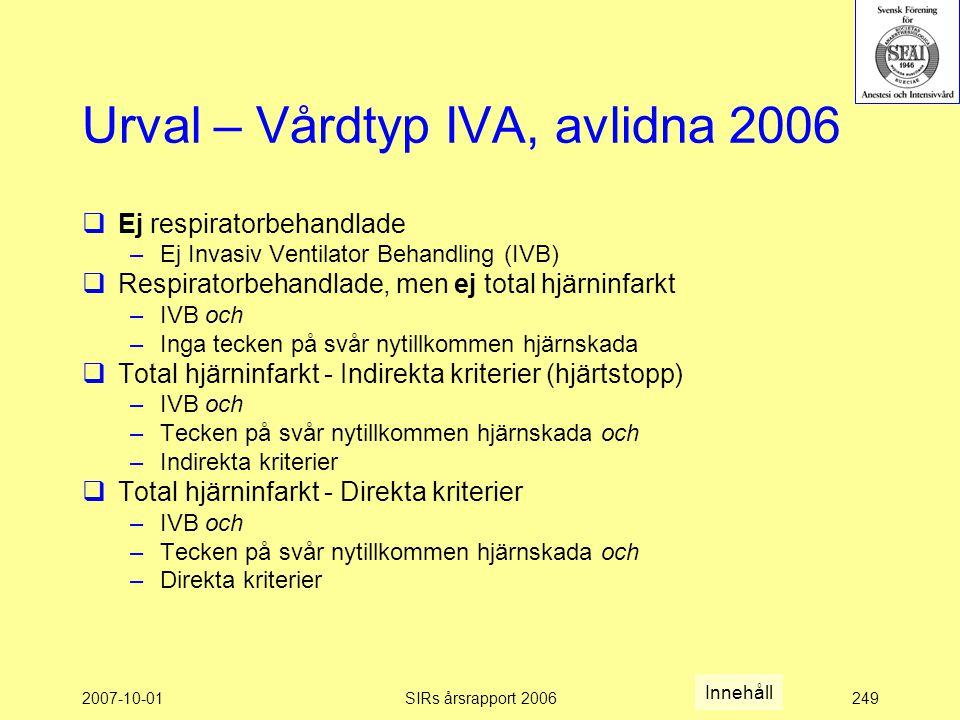 Urval – Vårdtyp IVA, avlidna 2006