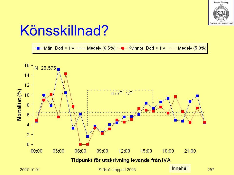Könsskillnad Innehåll 2007-10-01 SIRs årsrapport 2006