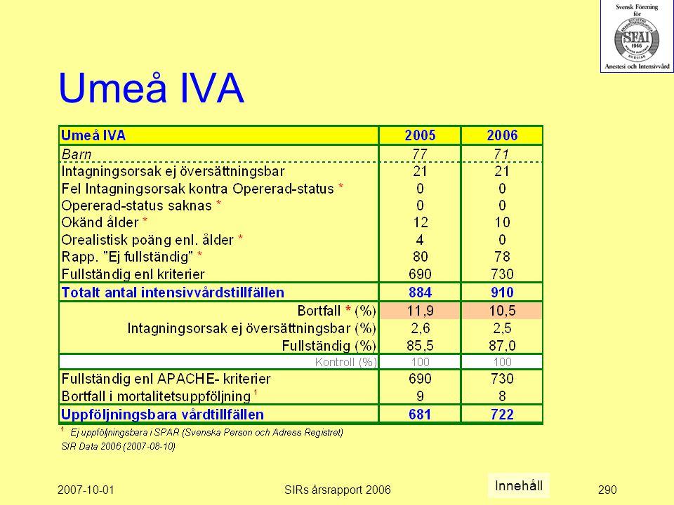 Umeå IVA Innehåll 2007-10-01 SIRs årsrapport 2006