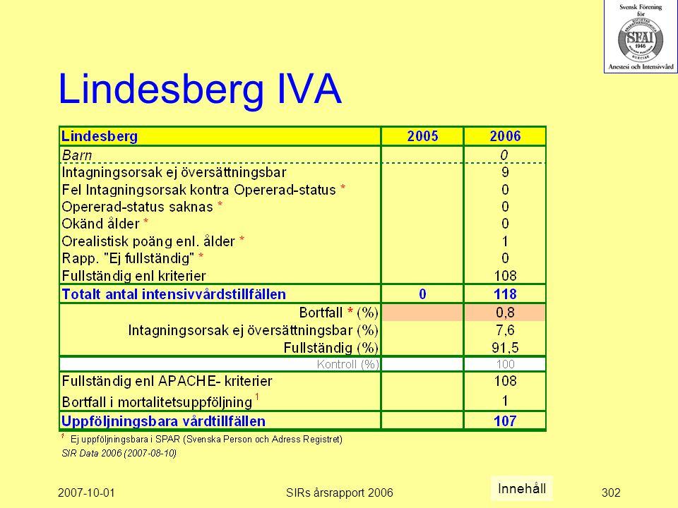 Lindesberg IVA Innehåll 2007-10-01 SIRs årsrapport 2006
