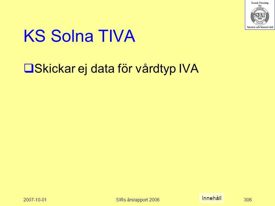 KS Solna TIVA Skickar ej data för vårdtyp IVA Innehåll 2007-10-01