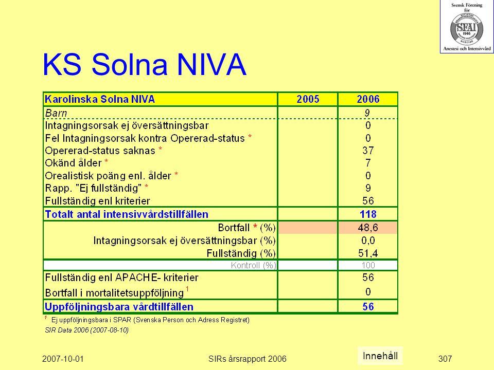 KS Solna NIVA Innehåll 2007-10-01 SIRs årsrapport 2006