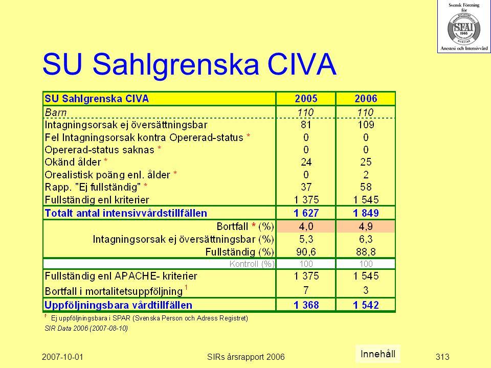 SU Sahlgrenska CIVA Innehåll 2007-10-01 SIRs årsrapport 2006